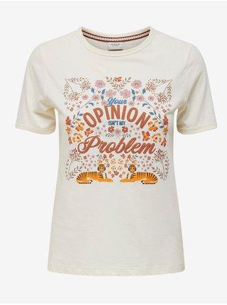 Krémové tričko s potlačou Jacqueline de Yong Gus