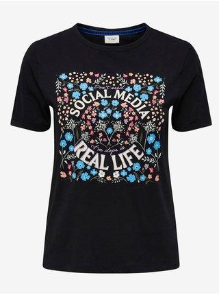 Čierne tričko s potlačou Jacqueline de Yong Gus