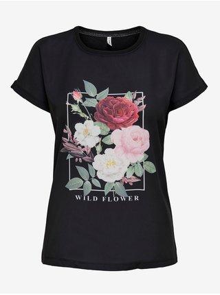 Černé tričko s potiskem ONLY Flora