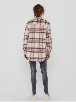 Krémovo-růžová kostkovaná lehká košilová bunda ONLY Deena
