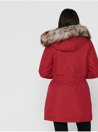 Červená dámská zimní parka s umělým kožíškem ONLY Iris