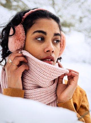 Růžové dámské klapky na uši s umělým kožíškem BARTS