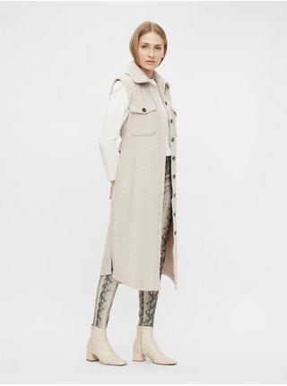 Krémová dlouhá vesta s příměsí vlny .OBJECT Vera