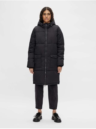 Černý prošívaný kabát s kapucí .OBJECT Zhanna