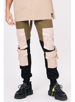 Béžové pánské kalhoty beige khaki black pants cargo straps June Sixth