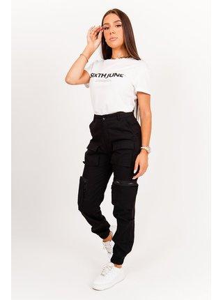 Černé dámské kalhoty PANTS CARGO MULTIPOCKETS JUNE SIXTH