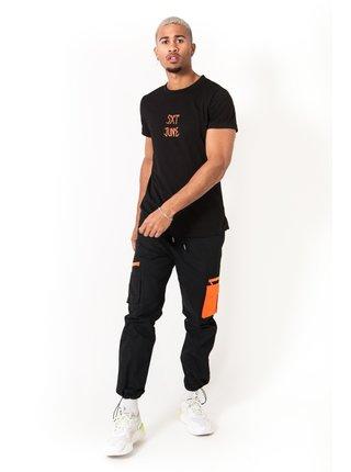 Černé pánské kalhoty BLACK PANTS CARGO ORANGE JUNE SIXTH