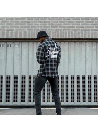 Černá pánská kostkovaná košile SHIRT CHECK DISTRESSED PRINT BACK