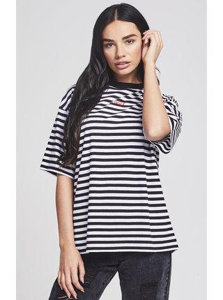 Bílo-černé dámské pruhované tričko Retro SikSilk tričko pruhované Dámske