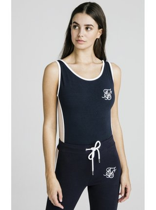 Tmavě modré dámské body Bodysuit Panel Side Contrast SikSilk