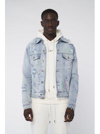 Modrá pánská džínová bunda JACKET DENIM SPLASHED PAINT DISTRESSED