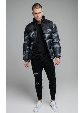 Černé-šedá prošívaná bunda BUBBLE CROP PRINTED