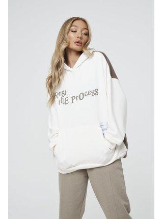 Hnědo-bílá dámská mikina s kapucí HOODIE PROCESS THE TRUST GRAPHIC SPLICED