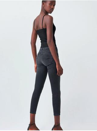 Tmavě šedé dámské slim fit zkrácené džíny SALSA Secret