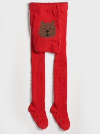 Červené holčičí punčocháče bear GAP