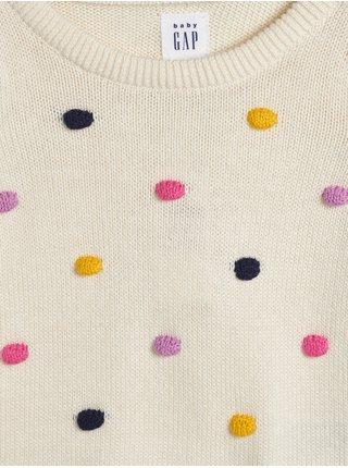Bílý holčičí puntíkovaný svetr  GAP