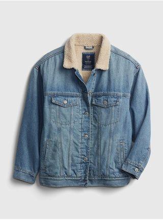 Modrá holčičí džínová bunda teen sherpa GAP