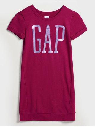 Růžové holčičí tričko vé šaty s logem GAP