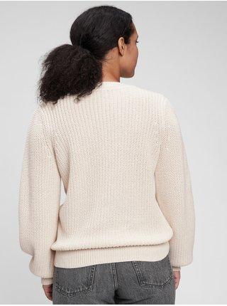 Bílý dámský svetr cable fashion GAP