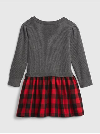 Šedé holčičí šaty plaid GAP