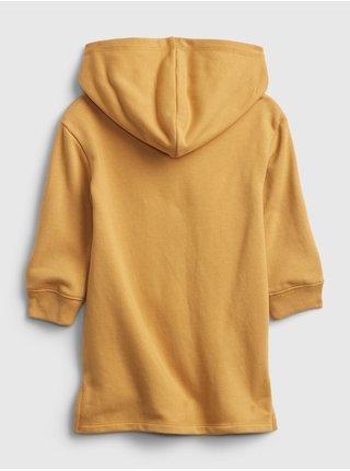 Žluté holčičí mikinové šaty srdce GAP
