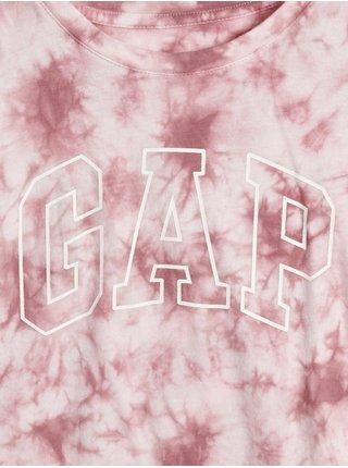 Růžové holčičí tričko batikované s logem GAP