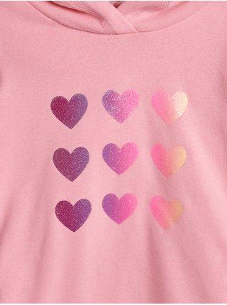 Růžové holčičí mikinové šaty se srdíčky GAP