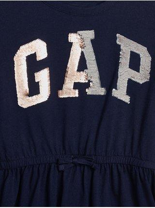 Modré holčičí šaty s flitrovým logem GAP