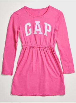 Růžové holčičí šaty s flitrovým logem GAP