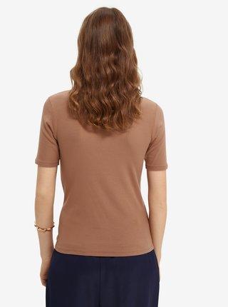 Světle hnědé dámské tričko se stojáčkem Scotch & Soda