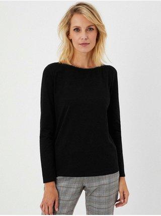 Černé tričko s ozdobným výstřihem Moodo