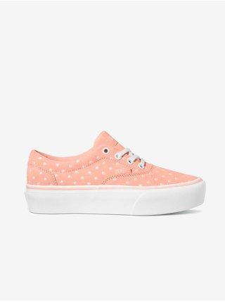 Růžové dámské kožené puntíkované tenisky VANS