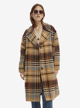 Hnědý dámský kostkovaný kabát Scotch & Soda