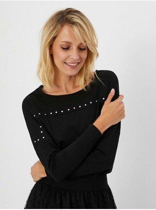 Černé tričko s ozdobnými detaily Moodo