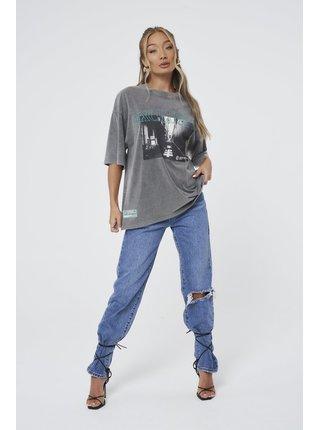 Šedé dámské tričko T-SHIRT OVERSIZED GRAPHIC EXCLUSIVE WASH ACID