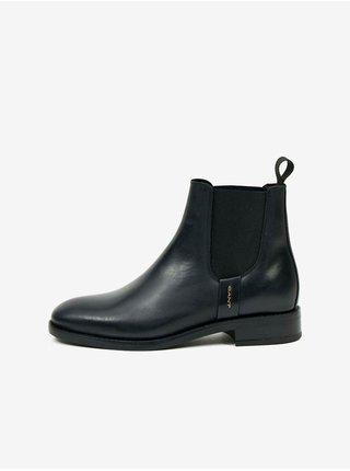 Černé dámské kožené kotníkové boty GANT Fayy