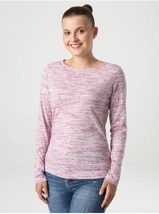 Světle růžové dámské žíhané tričko LOAP Beneda