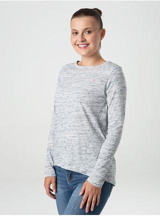 Světle šedá dámské žíhané tričko LOAP Beruna