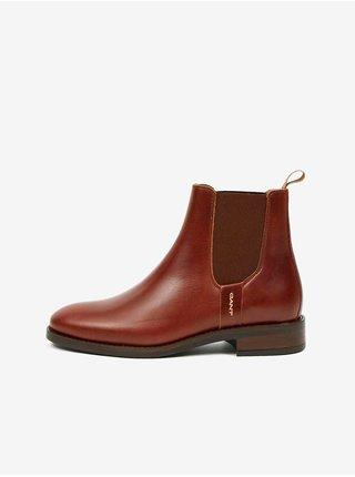 Hnědé dámské kožené kotníkové boty GANT Fayy