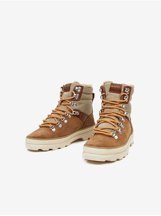 Khaki-hnědé dámské semišové kotníkové boty GANT Frenny