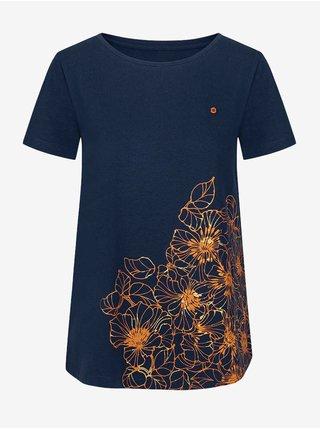 Tmavě modré dámské tričko s motivem LOAP Abana