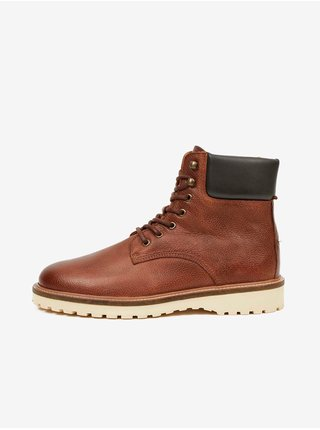 Hnědé pánské kožené kotníkové boty GANT Roden
