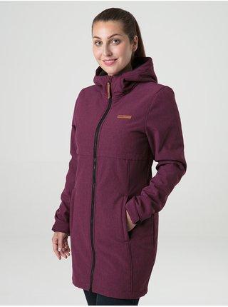 Vínový dámský prodloužený softshellový kabát s kapucí a kožíškem LOAP Lecova