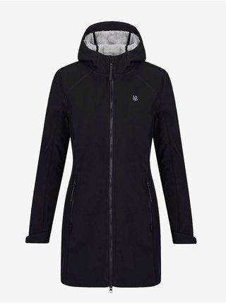 Černý dámský prodloužený softshellový kabát s kapucí a kožíškem LOAP Lecika