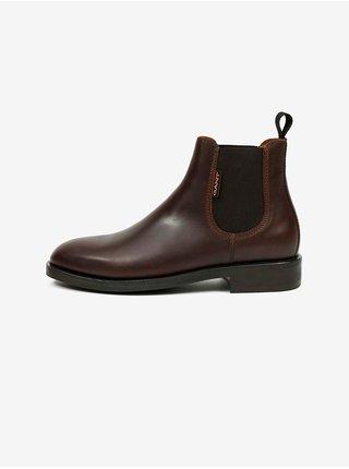 Tmavě hnědé pánské kožené kotníkové boty GANT Brockwill