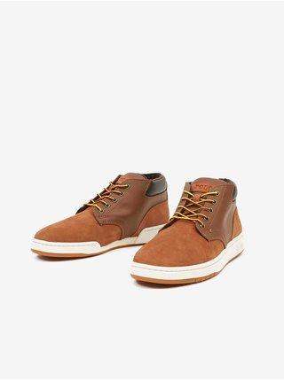 Hnedé pánske členkové kožené topánky v semišovej úprave Ralph Lauren Polo Sneaker Boot