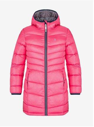 Růžový holčičí prošívaný zimní kabát s kapucí LOAP Ingritt