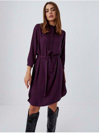 Fialové dámské košilové vzorované šaty se zavazováním Moodo