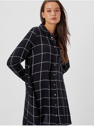 Čierna dámska dlhá kockovaná košeľa Moodo