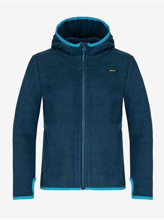 Tmavě modrý klučičí svetr na zip s kapucí LOAP Qwaro